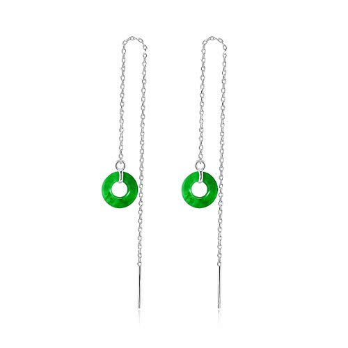Lotus Fun S925 Sterling Silver Earrings Retro Jade Stone Tassel Long Section Earrings Fashion Personality Temperament Jewellery for Women and Girls