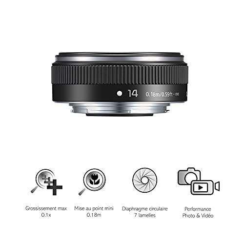 Panasonic H-H014A LUMIX G Festbrennweiten 14 mm F2.5 II ASPH. Objektiv (Pancake Objektiv, Filtergröße 46 mm, Bildwinkel 75°) schwarz