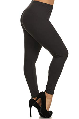 LDX128-Black Basic Solid Leggings, Plus Size