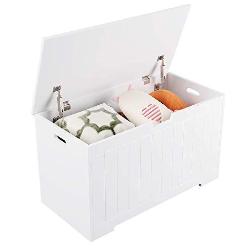 Homfa Armario Almacenaje Caja Almacenaje para Juguetes Baúl para Juguetes Libros con Tapa Madera Blanco 80x39.5x46.3cm