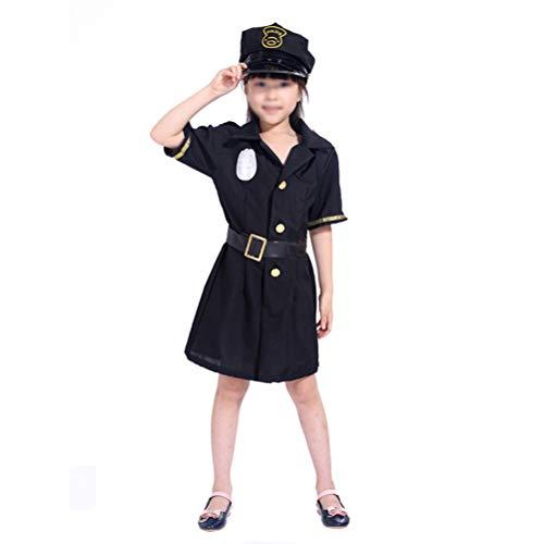 POPETPOP 1 Juego de Uniforme de Oficial de polica de Halloween, Bonito Juego de Ropa, Juego de Traje, Divertido Juego de Uniforme de Fiesta, sin para nias (M, 4-6 aos) Juguetes para nios