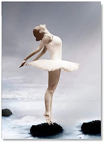 YHJK Arte del Cartel Cartel de la Muchacha del Ballet Arte de la Pared Moderno Zapatillas de Ballet Impresiones Simples imágenes de Moda Sala de Estar decoración del hogar 30x50 cm sin Marco