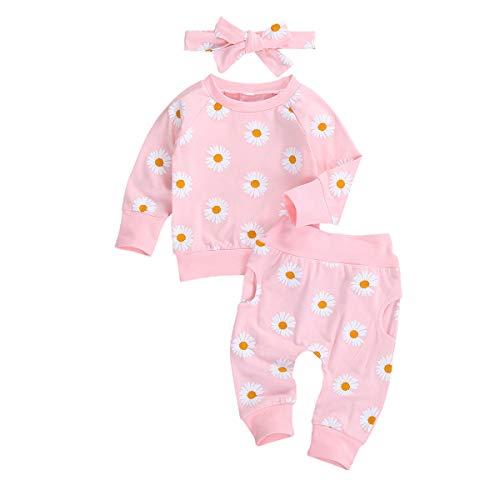 MINASAN - Conjunto de ropa de otoño para recién nacidos con estampado de temporada de manga larga + pantalones + diadema Rosa. 12-18 Meses