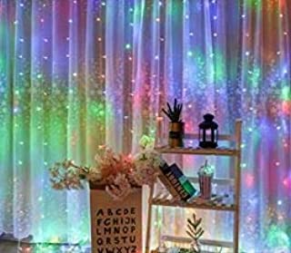 JMTGNSEP RGB Curtain Light with 8 Modes Control Decoration for Window Home Patio Garden Christmas Indoor Outdoor Decoration, USB Operated, IP65WATERPROOF (9.8ft X 6.5ft) (Multicolor)