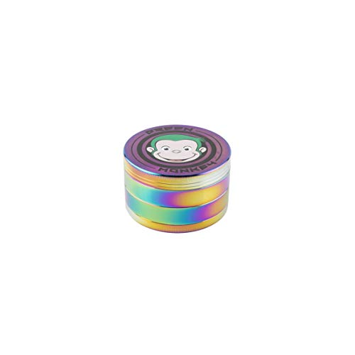 Green Monkey - 4 Piece Metal Dry Herb Grinder - Capuchin Classic Series - (75mm, Rainbow) - Smoking Accessories - Spice Grinder - Screen With Pollen Catcher - Herb Shredder - Magnetic Top