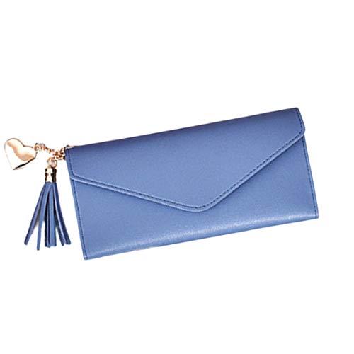 Trendy Korean Fashion Einfache Liebe Quaste Schnalle Brieftasche PU Handtasche Soft Change Tasche Große Kapazität Einfarbig