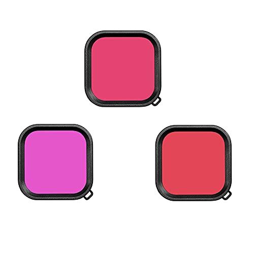 V-MAXZONE Funda de Lente Impermeable para GoPro Hero 9 Filtro de Buceo bajo el Agua Rosa Rosa Púrpura Filtros de Buceo Accesorios de cámara Accesorios para Adultos Niños ( Colour : 3 in 1 )