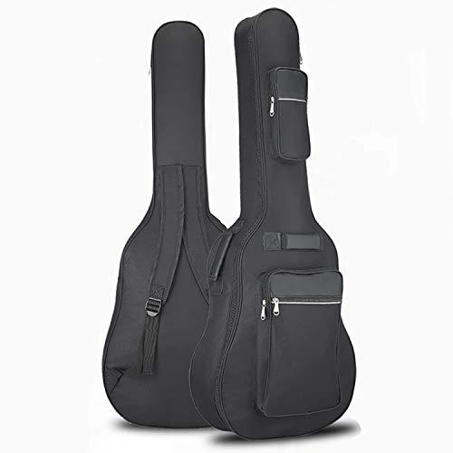 アコースティック ギター ギグバッグ 40-41インチ用 ギターケース 8mm スポンジ ギターソフトケース 楽器バッグ 軽量 厚い肩 大容量ポケット 肩掛け 手提げ 600D防水 オックスフォード布 ブラック