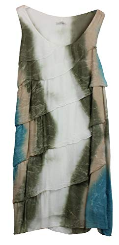 BZNA Ibiza Batik Empire Stup-Klok zomerjurk groen wit taupe turquoise 100% zijden jurk Bozana zomer herfst zijden jurk dames jurk jurk elegant