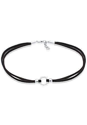 Elli Halskette Damen Trend Choker Kreis mit Velourleder schwarz in 925 Sterling Silber
