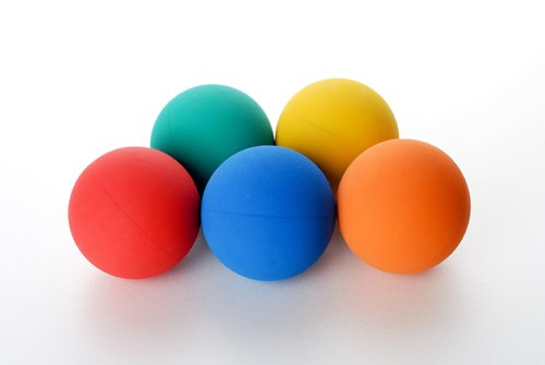 Arospa Colorful Super Bouncy Rubber Dog Fetch Ball 5 Colors/Pack (Colorful)