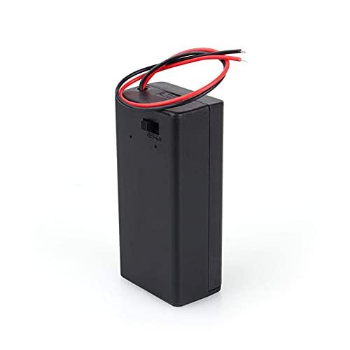 Caja de soporte de batería PP3 de 9 V voltios Caja de CC con interruptor de encendido/apagado de cable con cubierta para baterías estándar de 9 V Fuente de alimentación externa