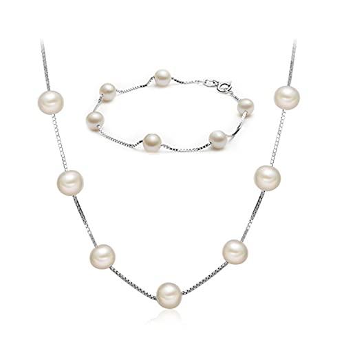 KNWSHT Gypsophila - Collar de perlas para mujer de 7 a 8 mm, collar de perlas y pulsera con cadenas de plata de ley 925, regalo para niña y mamá
