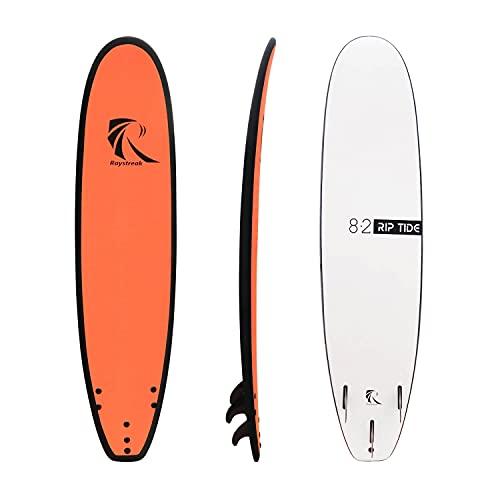 Raystreak 8'2 School Learner Foam Surfboard Beginner Soft Surf Board with leashes and Fins (Orange)