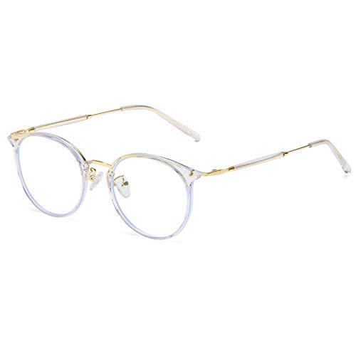 DUCO ブルーライトカット メガネ メンズ レディース パソコン用 眼鏡 pc メガネ 度なし blue light glasses 青色光 カット メガネ ゴールド 超軽量 W013