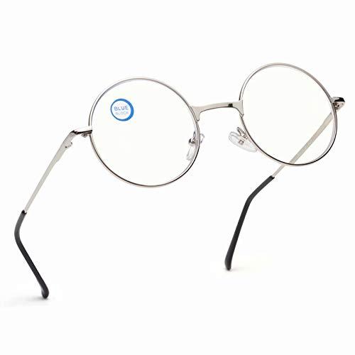 Gafas de lectura estilo redondo vintage con bloqueo de luz azul para lectores 80s/90s círculo marco de metal transparente lente John Lennon