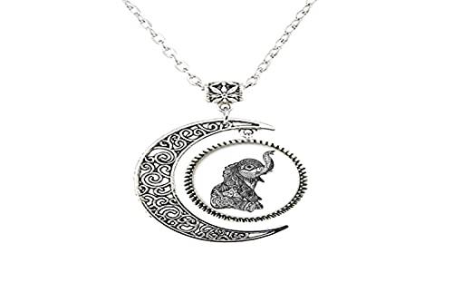 Collar de luna de cristal con diseño de elefante, para hombre y mujer