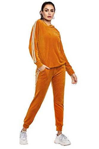 Women's 2 Piece Outfits Velvet Hoodie Sweatshirt & Sweatpants Sweatsuits and Velour Tracksuit Sets Jogging Suit Orange S