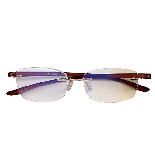 人気のふちなしタイプ フレームレスがお洒落な老眼鏡 スクエア ブルーライト35% カット[PrePiar](ブラウン,+1.0)