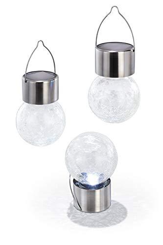 Esotec Solar hanglampen set van 3 Crackle Balls, echt glasdesign met ophangbeugel 102308