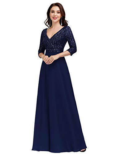 Ever-Pretty Vestiti da Damigella Elegante Manica Lunga Scollo a V con Paillettes Linea ad A Chiffon Donna Blu Navy 54