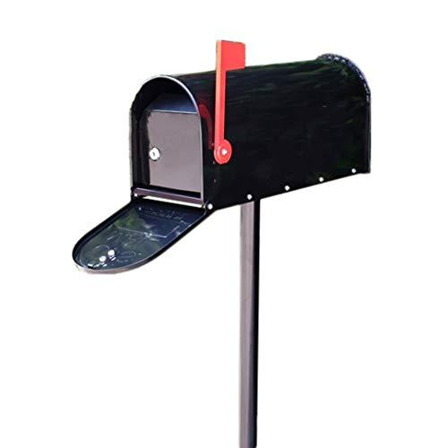 Briefkästen Mailbox Postbox Große Europäische Tin Dekoration Letter Box Vintage Villa Post American-Style Druckregenfest Milk Box (Color : Black, Size : 17 * 48 * 122cm)
