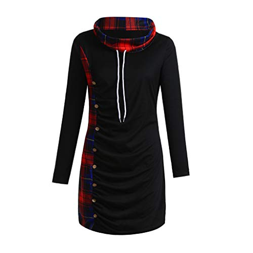 FRAUIT Elegant dames lange mouwen Botton geruit shirt met capuchon Splicing gestreepte sweatshirts tops