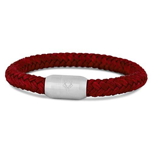 Akitsune Portus Cuerda de Vela Pulsera | Magnético Cierre de cápsula Mujer Hombreas Ancla Hombre Marítimo - Matt Plata - Vino Rojo 23cm