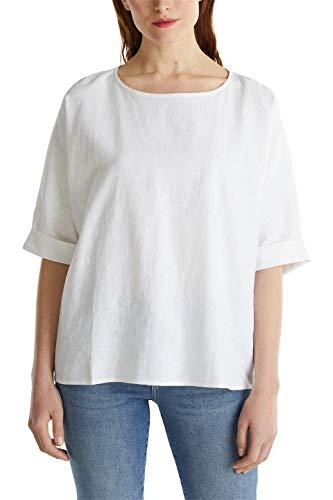 Esprit 030EE1F352 Bluse Damen, Weiß (100/WHITE), 36