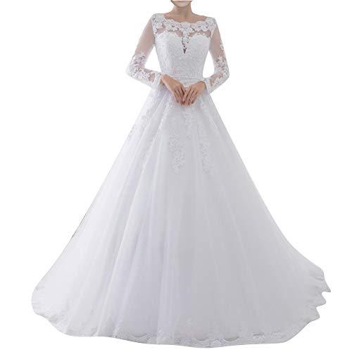 Brautkleider Spitze A-Linie Hochzeitskleider Lang Schleppe Damen Langarm U-Boot Tüll Perlen Schleife Weiß 42