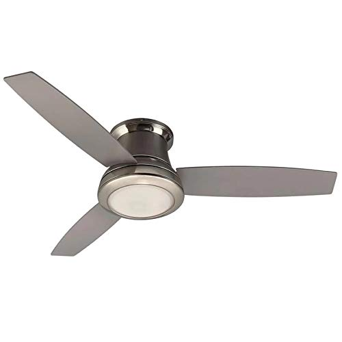 Harbor Breeze Sail Stream 52-in Brushed Nickel LED Indoor Flush mount Ceiling Fan with Light and Remote Control Included (3-Blade)
