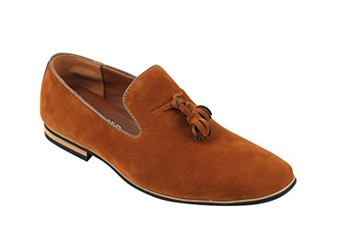 Zapatillas de Piel sintética para Hombre con diseño de Borla de Gamuza, Color Marrón, Talla 41 EU