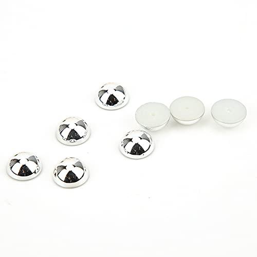 Accesorios para botones de perla Remache de ropa Perlas de plástico Perlas semicirculares Ropa Zapatos Artesanos de negocios Braceles de cuero para decoración de bolsas de bricolaje(Silver)