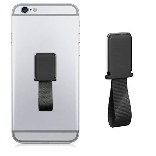 kwmobile Sostegno Dita Cellulare Metallico Auto - Porta-Smartphone Adesivo Supporto Magnetico con Fascetta - Compatibile con iPhone e Samsung - Nero
