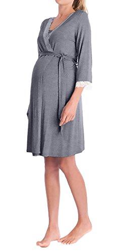 Morgenmantel Damen Umstandsmode Nachthemd Elegant 3/4 Arm V-Ausschnitt Spitze Spleiß Mädchen Kleidung Mit Gürtel Kurz Bademantel Umstands Pyjama Nachtwäsche Schwangere ( Color : Grau , Size : S )