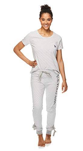 U.S. Polo Assn. Womens Short Sleeve Shirt and Lounge Jogger Pajama Pants Sleepwear Set Heather Grey Large