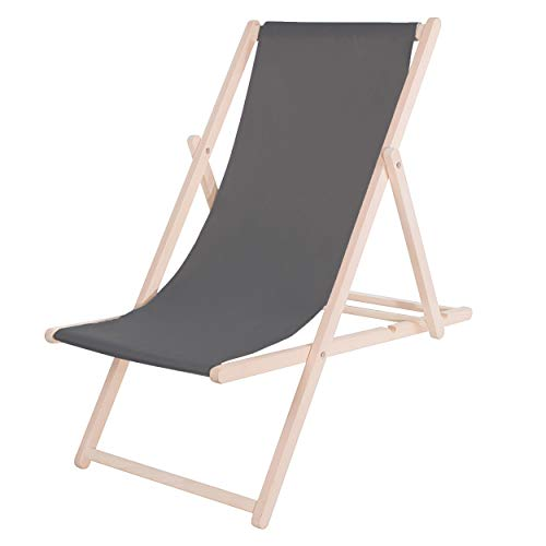 SPRINGOS Liegestuhl|DIY|Holz|Sonnenliege|Klappbar|Relaxsessel|Gartenliege|Entspannung (Graphit)