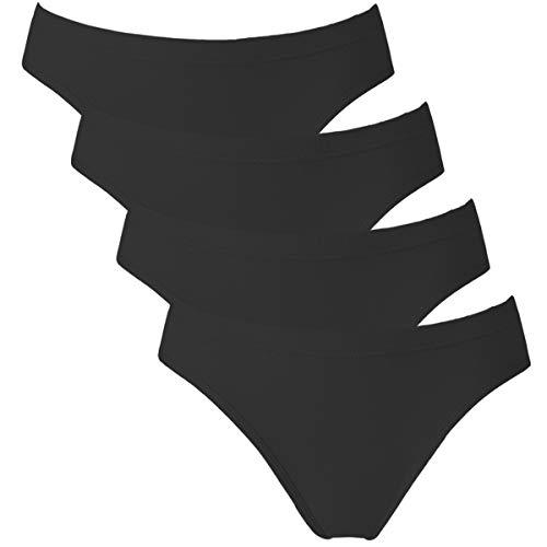 Avacoo Damen Slips Soft Unterhosen Panties 100{e62216f6195972e2a92eb8cfcab8ff2ea012cfb410390b43afa7ee42679f6791} Baumwolle Hipster 4er Pack Bikinislips Schwarz Large