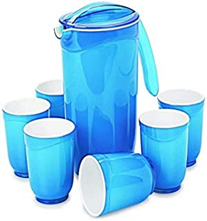 Cello Ceramica Appetizer Set - Round 7 Pieces - 1 Jug, 6 Glasses - Blue