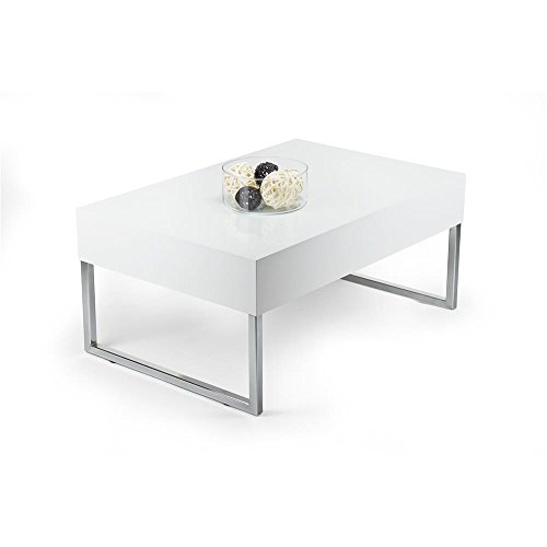 Mobili Fiver, Table Basse, Evo XL, Blanc Brillant, 90 x 60 x 40 cm, Mélaminé/Fer Chromé, Made in Italy
