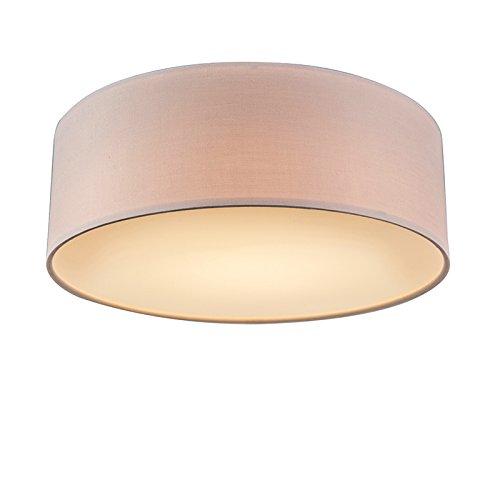QAZQA Modern Rosa Deckenleuchte/Deckenlampe/Lampe/Leuchte 30 cm inkl. LED - Drum mit Schirm LED/Innenbeleuchtung/Wohnzimmerlampe/Schlafzimmer/Küche Metall/Textil Rund / (nicht austausch