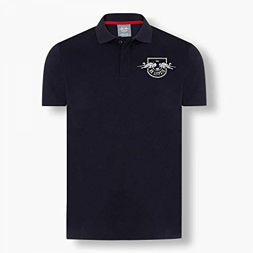RB Leipzig Polo Shirt - Essential - RBL Herren T-Shirt dunkelblau - Plus Lesezeichen Wir lieben Fußball Größe XXL