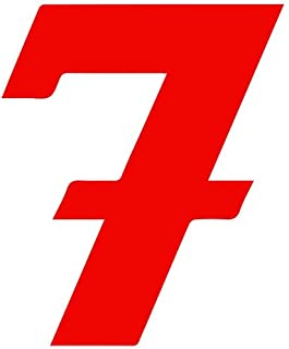 Set of 3 - Number 7 Style #55 Color: Seven Decal Sticker Color: red- Peel and Stick Vinyl Sticker