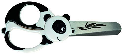 Fiskars Forbici per bambini a forma di panda, A partire da 4 anni, Lunghezza: 13 cm, Per destrorsi e mancini, Lama in acciaio inossidabile/Impugnature