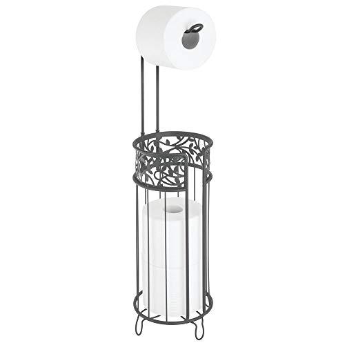 MDESIGN Toilettenpapierhalter stehend – moderner Papierrollenhalter fürs Badezimmer und das Gäste-WC – Klopapierhalter mit Raum für bis zu 3 Reserverollen – anthrazit