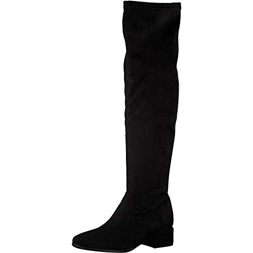 Tamaris Damen Stiefel, Frauen Overknee Stiefel, Overknee-Boots lederstiefel Flacher Absatz reißverschluss weiblich Lady Ladies,Black,39 EU / 5.5 UK