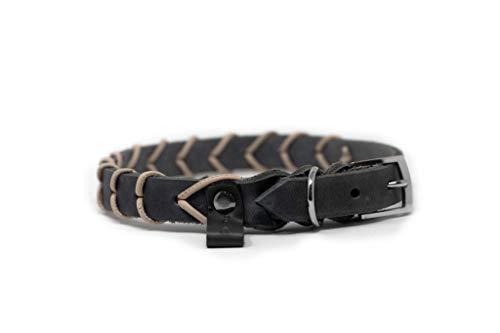My Joone | Hundehalsband aus Fettleder in grau mit Nappalederverzierung in grautaupe für kleine und große Hunde, Halsband Hund, Lederhalsband, Leder