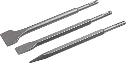 Meister Meißel-Satz 3-teilig - SDS-Plus-Aufnahme - Stahl - Spitzmeißel - Flachmeißel - Spatmeißel / Meißel-Set für pneumatischen Bohrhammer / Zubehör für Kombihammer / 5593670