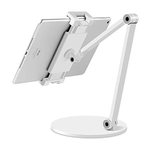 Tablet Ständer, iPad Ständer, Stabiler Ganzmetall Tablet Halterung Verstärkung iPad Stand Halter Dock für Alle Tablet/Smartphones & weiteres Geräte von 4.7 bis 12.9 Zoll (Weiß)