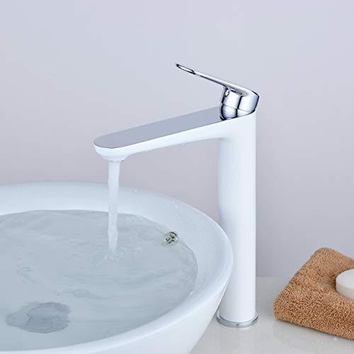 Kelelife Grifo de Lavabo Grifería Baño para Encimera, Caño Alto, Blanco & Cromo